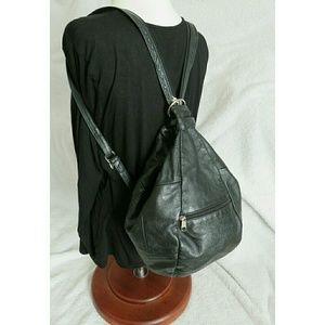 Vintage Leather Sling Backpack Bucket Bag Black